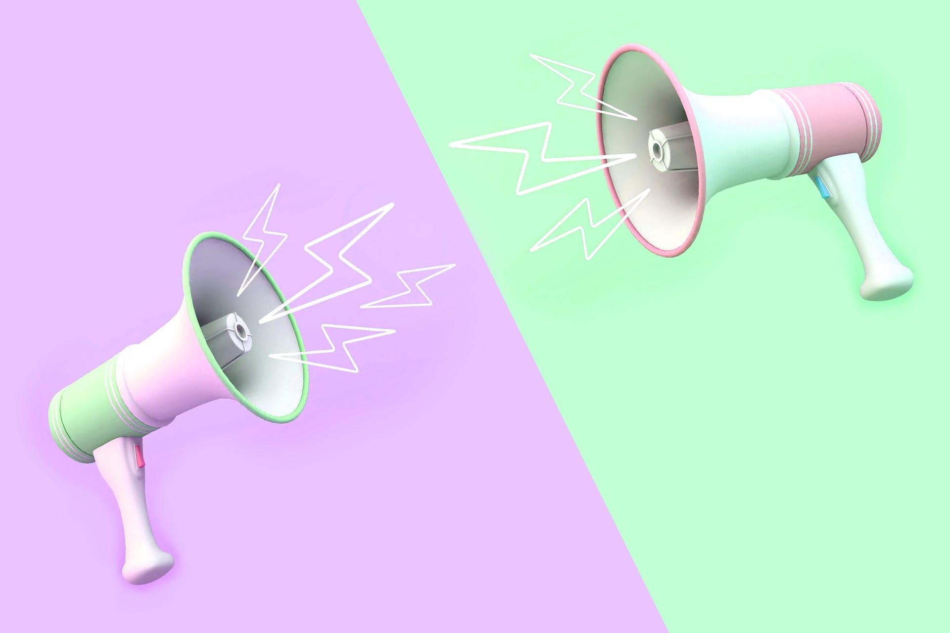 Two megaphones.