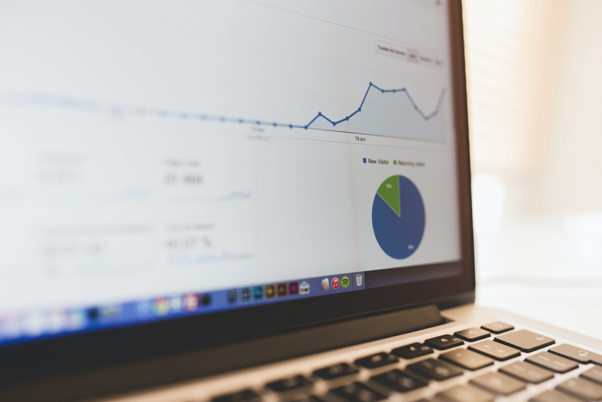 close up of pie chart and graph on laptop screen
