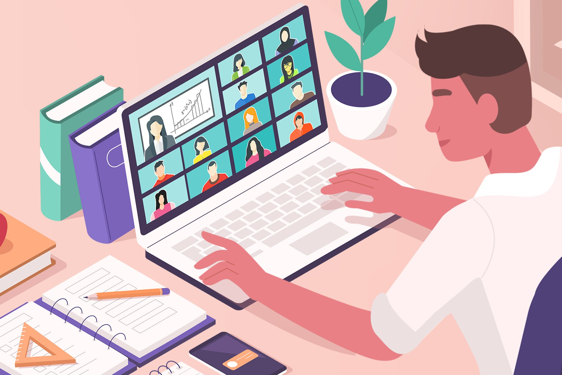 Illustration of a man in a virtual meeting