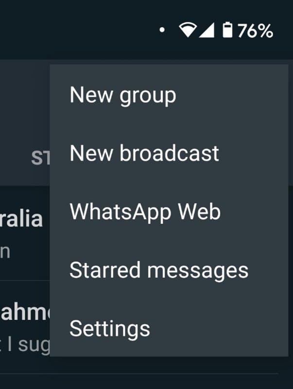 WhatsApp Broadcast option onscreen