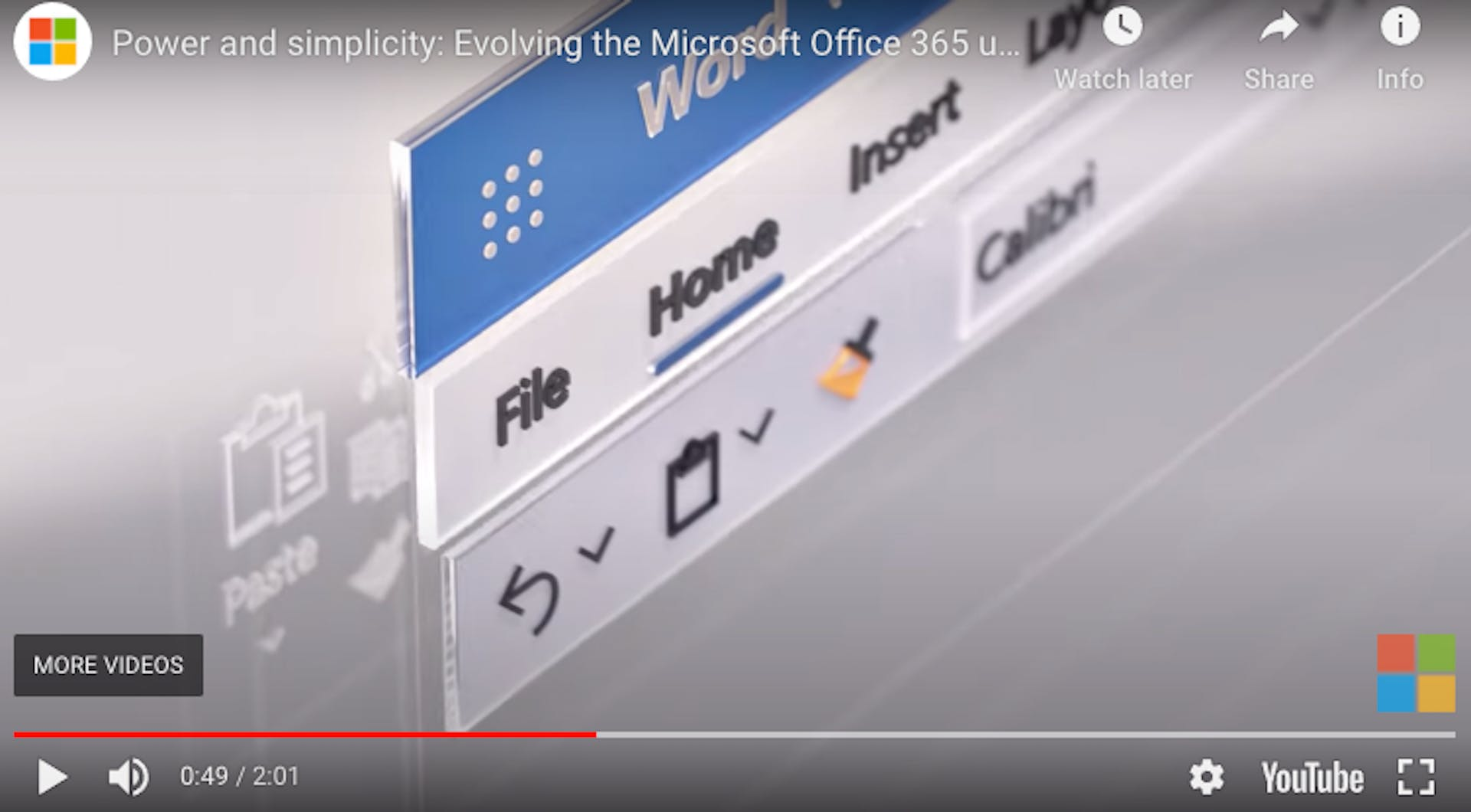 Microsoft's brand video features stylised versions of upgrades to its Office 365 products