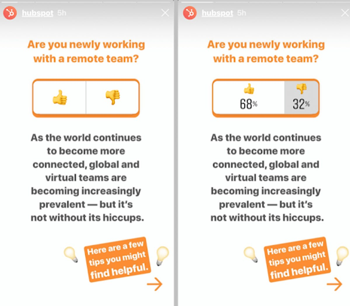 HubSpot uses Instagram Stories to direct users to their content
