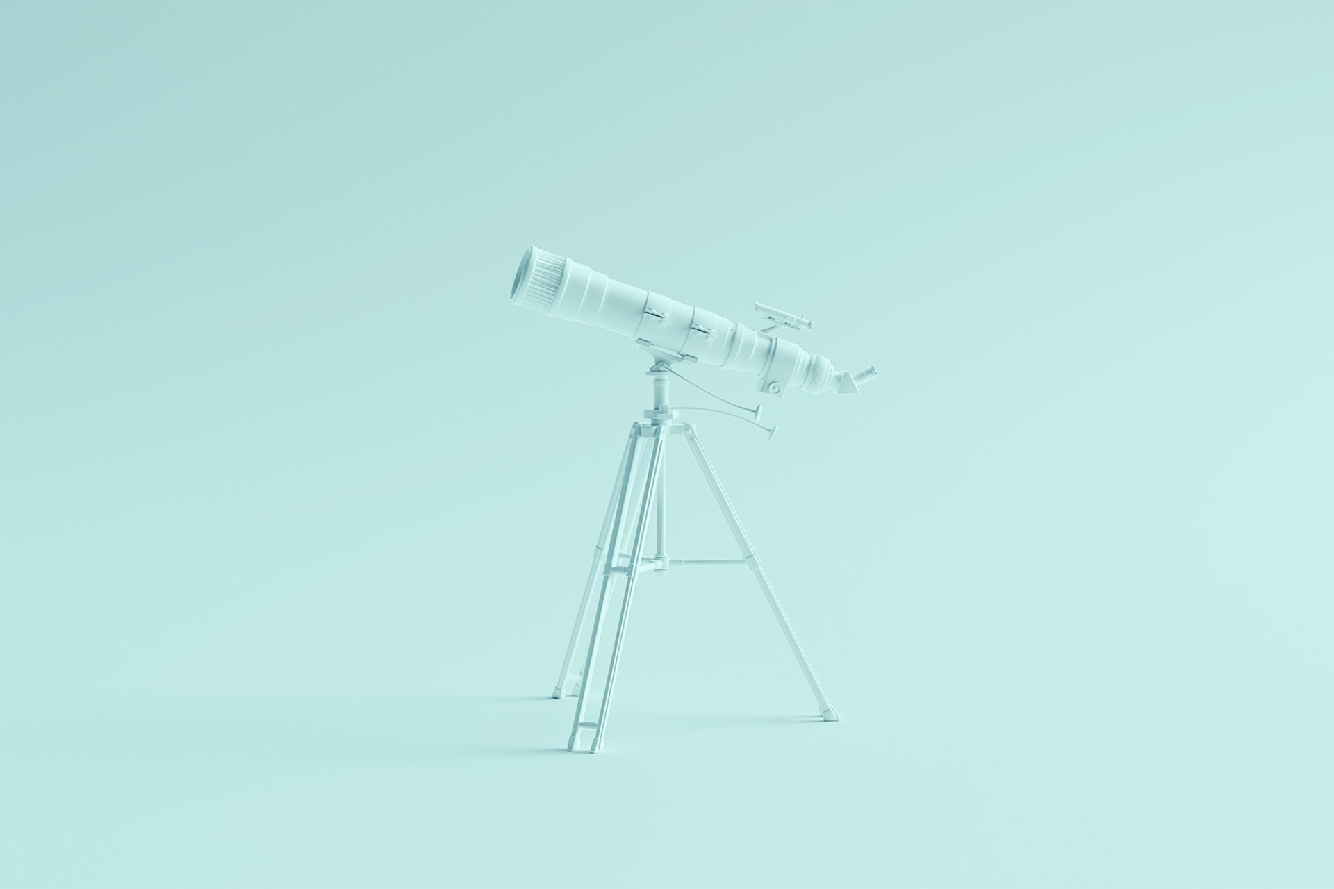 A large telescope set against a light teal backdrop. The telescope is a visual metaphor for the process of monitoring brand mentions on the internet, which is known as brand monitoring.