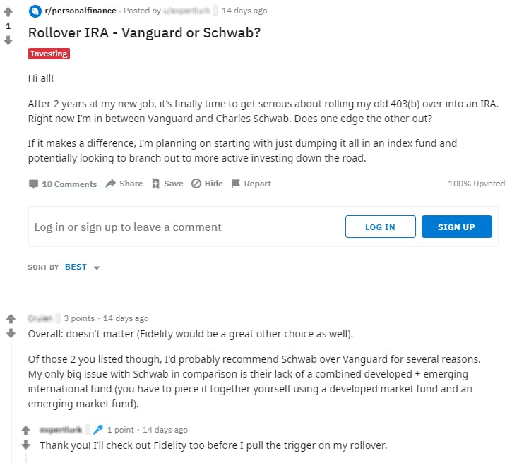 screenshot of reddit marketing and discussion on personal finance and rollover IRA