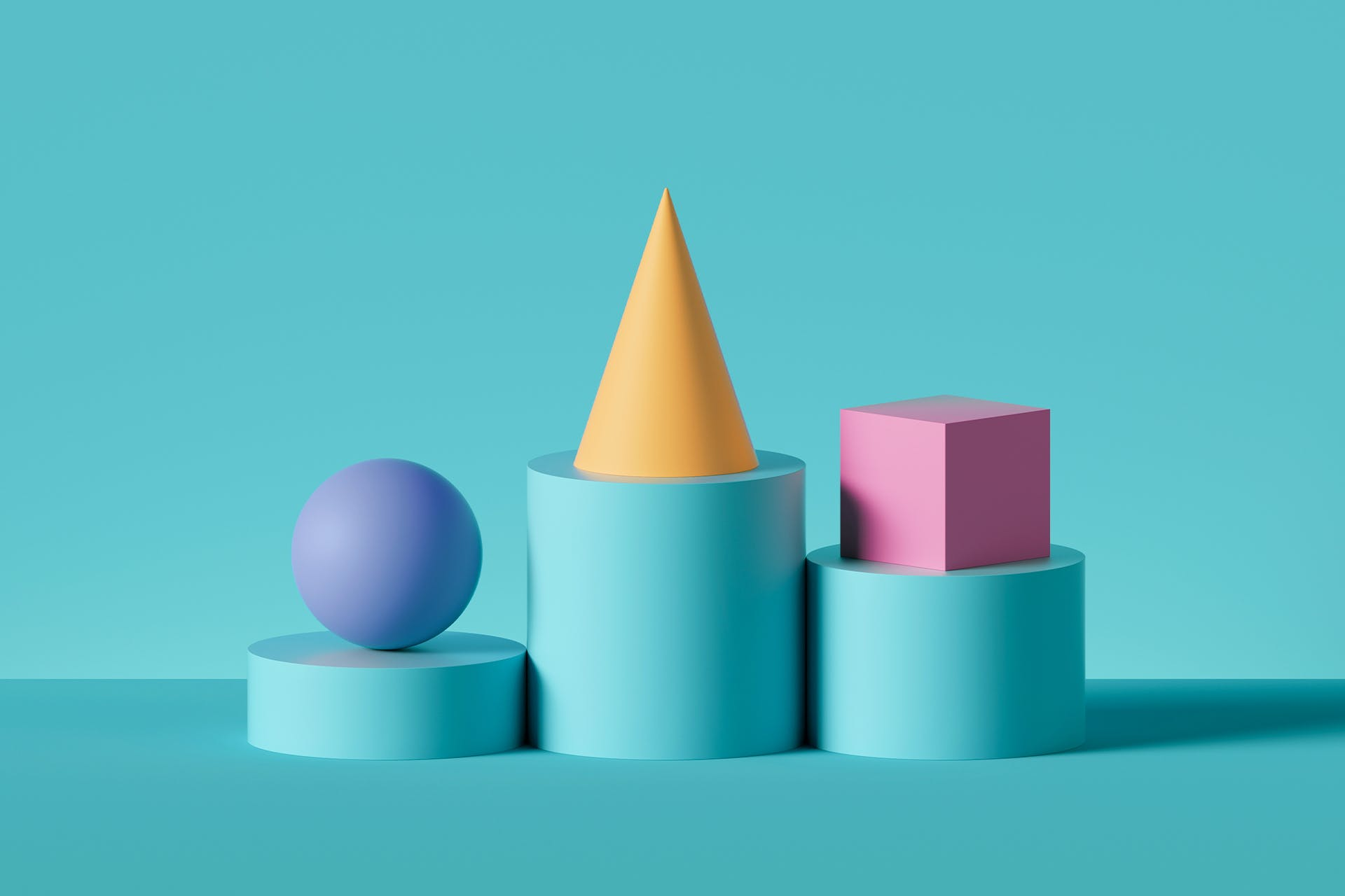 A podium with three different shapes set atop: a sphere, a cone and a square. The different shapes represent the different types of customers explained in this blog.