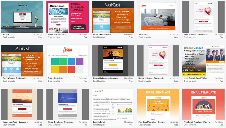 Man sieht eine Reihe von internen Newsletter Templates von HubSpot. Diese Vorlagen sind teilweise kostenpflichtig und teilweise kostenlos.