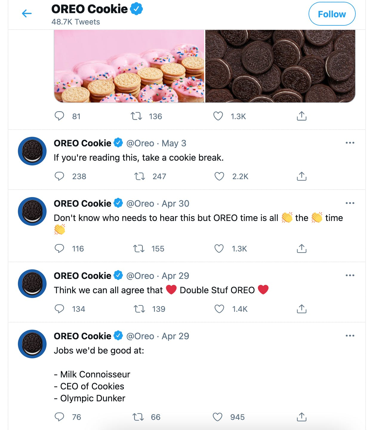 Oreos Twitter page showing five fun and humorous tweets in a row.