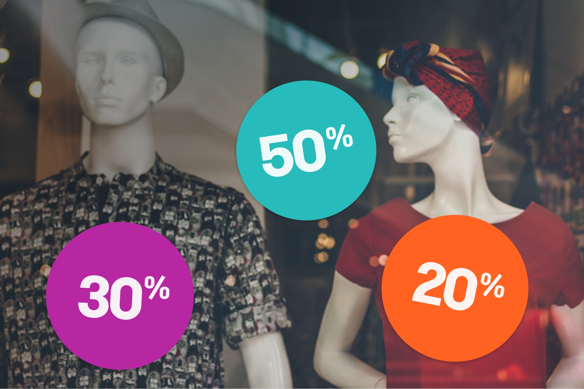 A department store window with mannequins and discount signs. In this article we will focus on the marketing mix and introduce to you the 4Ps as well as the 7Ps of marketing