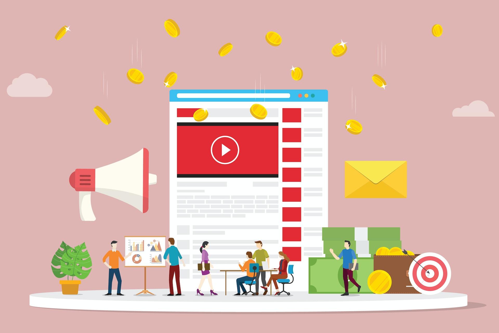 Altrosa Hintergrund verschiedenen Icons wie fliegende Goldmünzen, ein Megaphone, ein goldener Briefumschlag, eine Animation der YouTube Seite, eine Zielscheibe und Personen im Büro