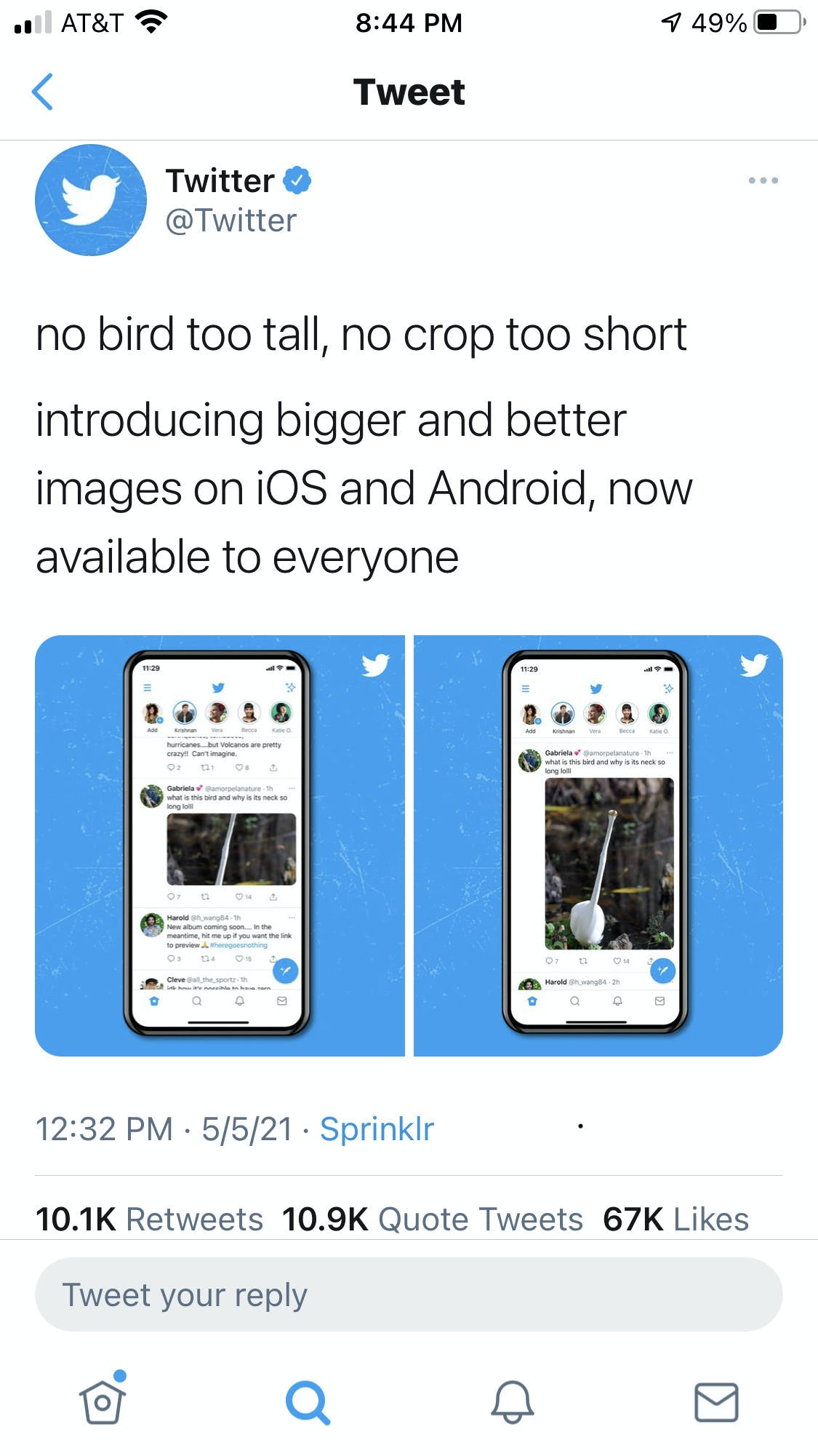 Tweet made from official Twitter account demonstrating a fully expanded vertical photo, which is how photos will now look on mobile, without the automatic Twitter crop.