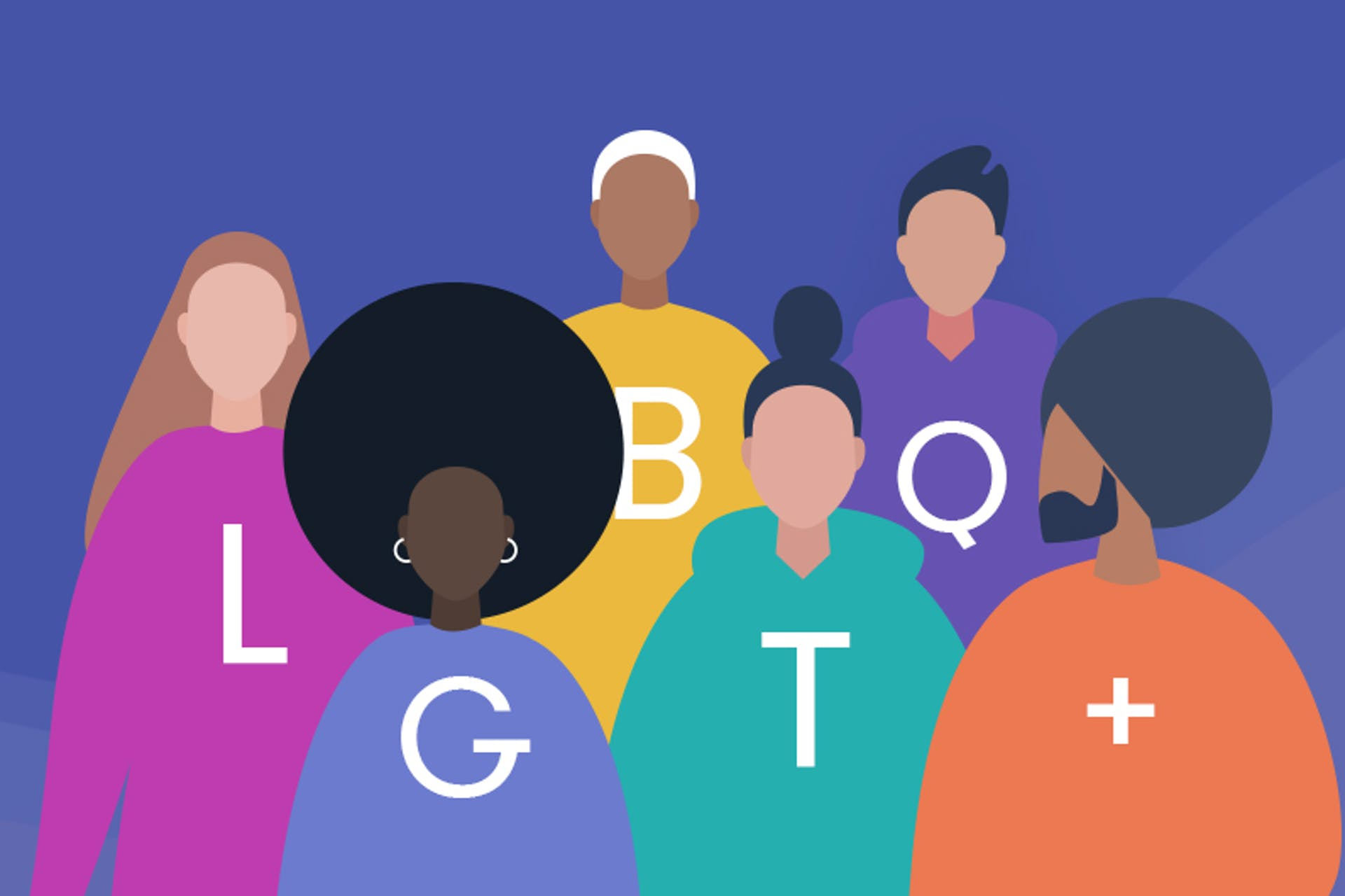 A diverse group of people with each wearing a sweater with one of the letters from the acronym LGBTQ+ on the front.
