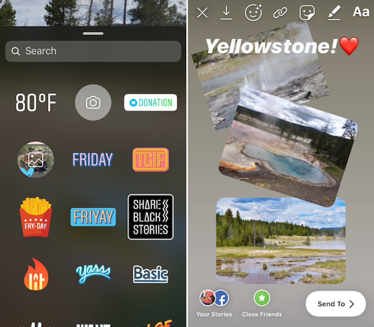 The image sticker allows you to post multiple photos within the same Story. Top left from L to R: download Story, Story filters, links, stickers, drawings, and text.
