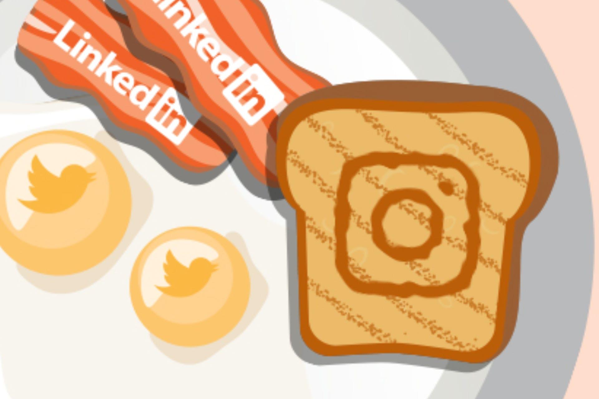 social media breakfast illustration