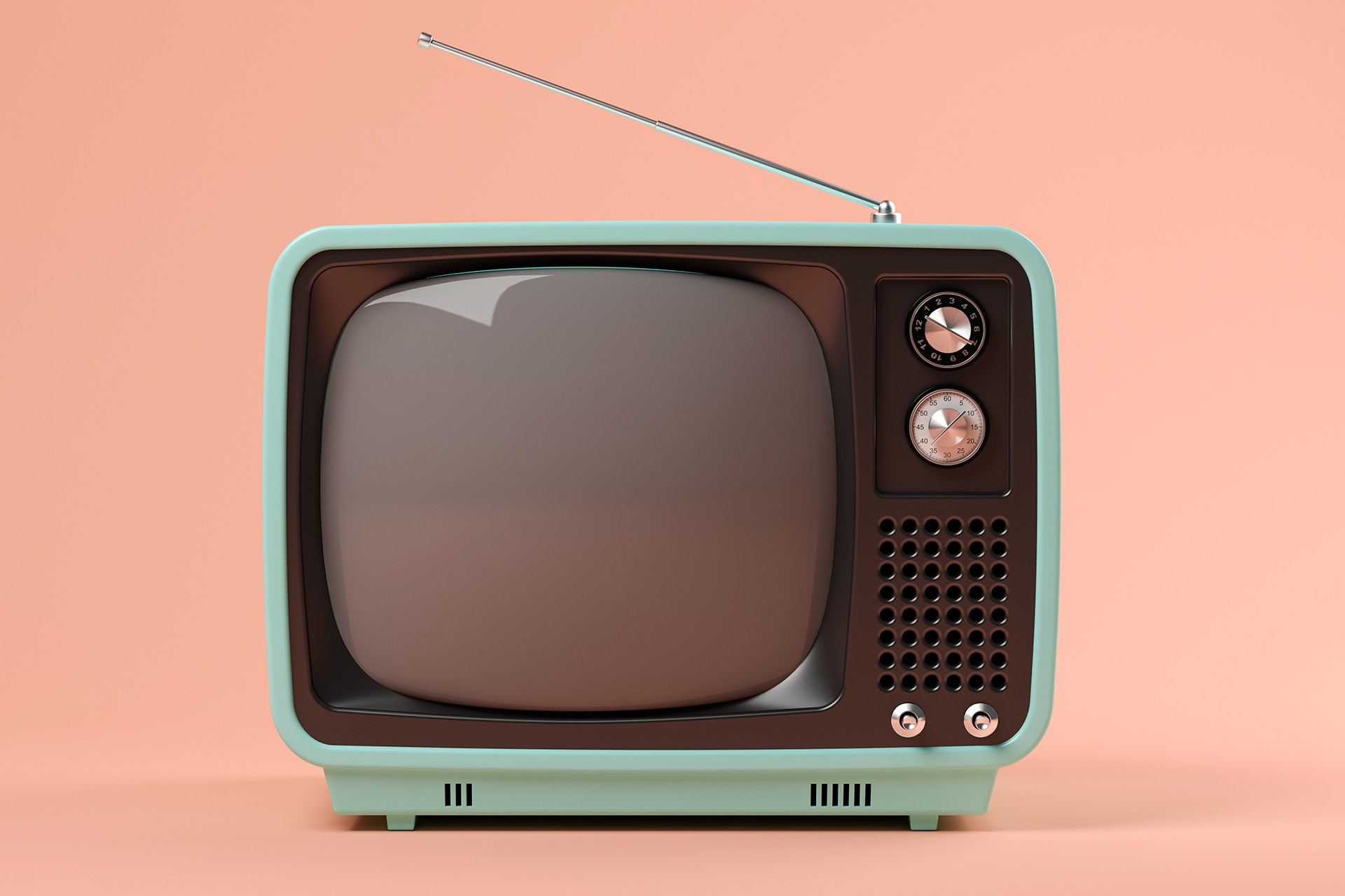 Retro-televisio pinkillä taustalla