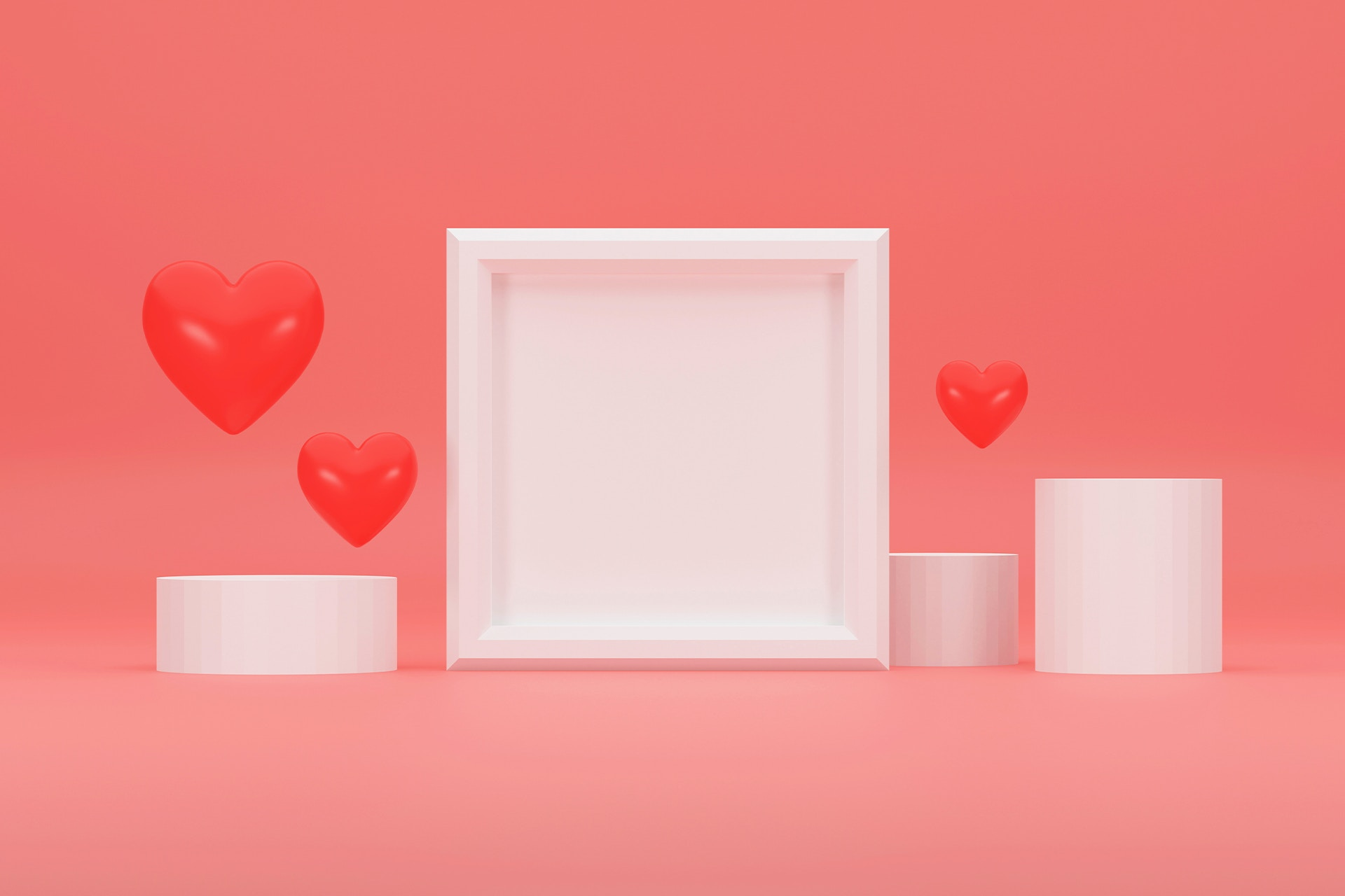 Red floating hearts over geometric shapes. Creating and maintaining a positive brand reputation blog post