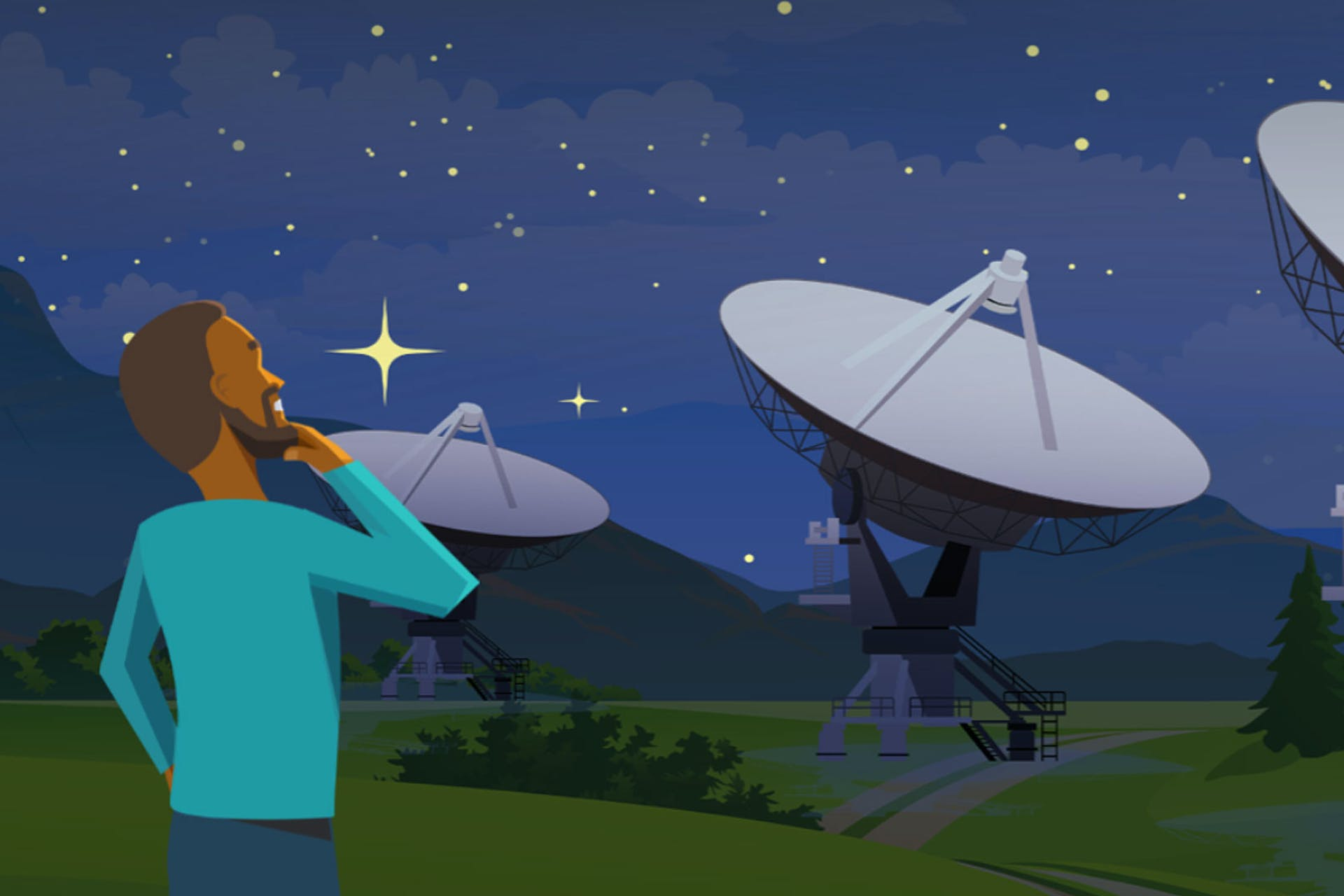 An illustration of a man looking up at a starry sky against a backdrop of satellite dishes