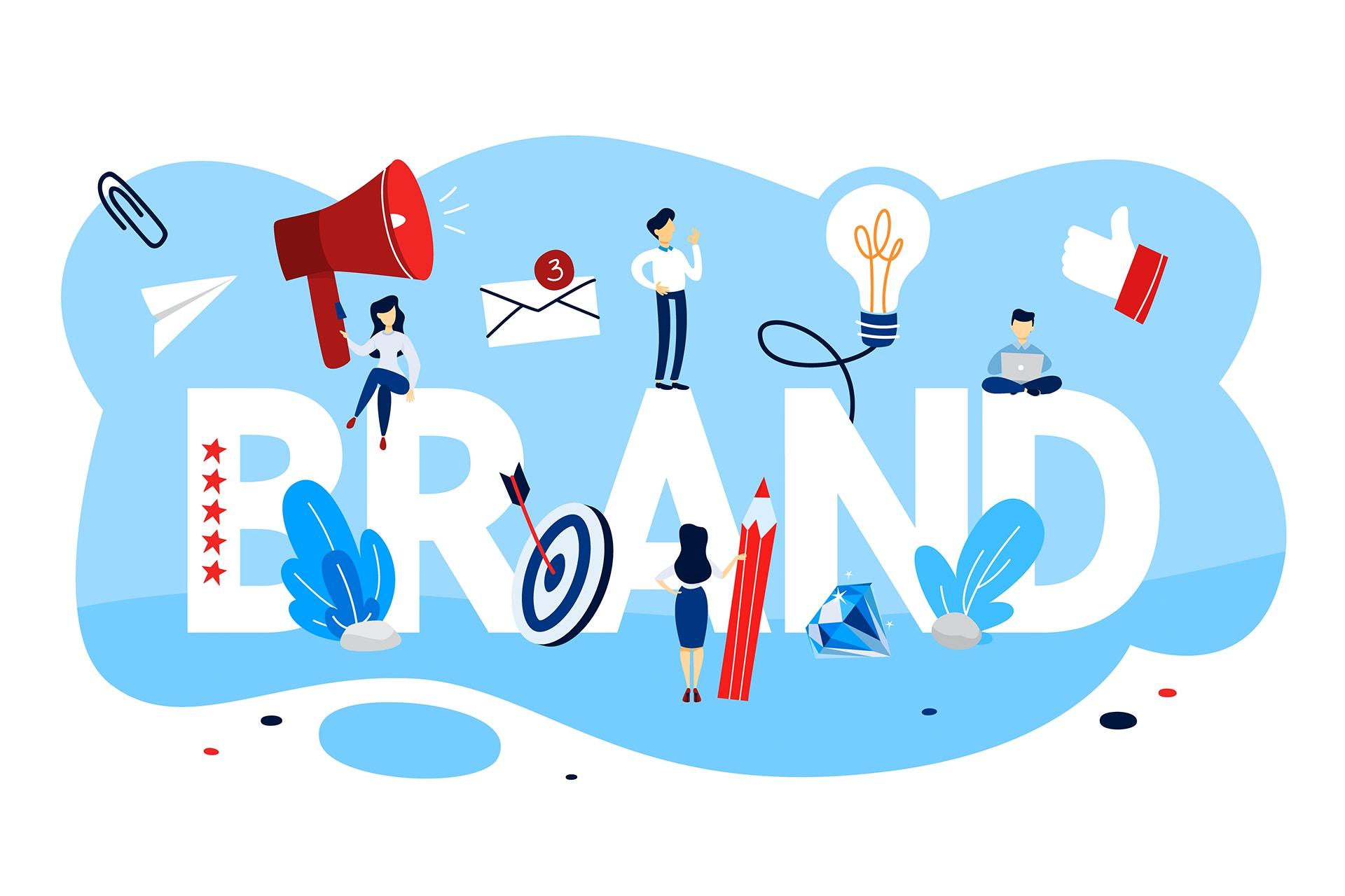 Illustraatio brändiin liittyvistä asioista, keskellä teksti: brand