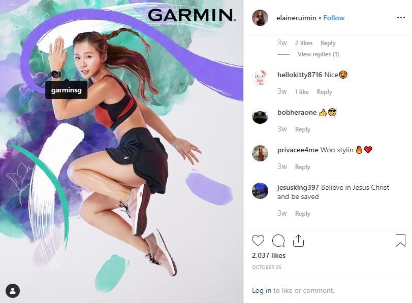 Influencer and Garmin collaboration on Instagram