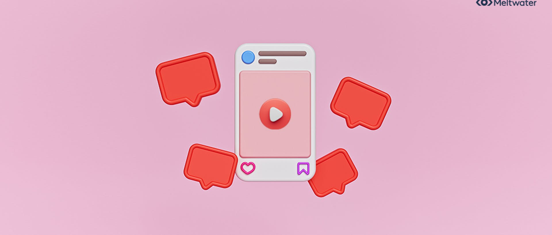 An illustrated image of an IGTV post with a video button in the center and icons of the Instagram heart reaction floating around the post.