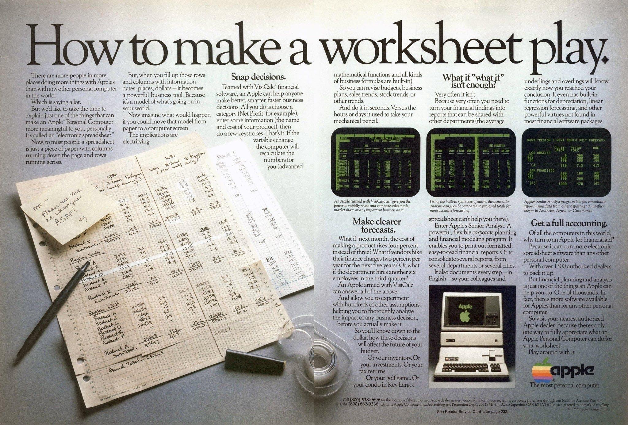 La numérisation des entreprises est un vieux sujet — VisiCalc (Apple)
