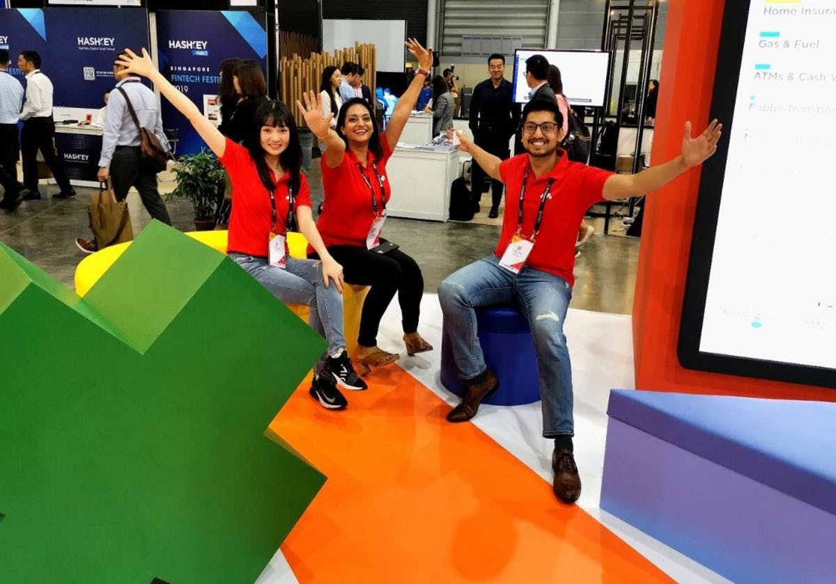 Meniga's Louisa Qui, Kanika Mittal (in middle), and Sukul Jain at SFF 2019