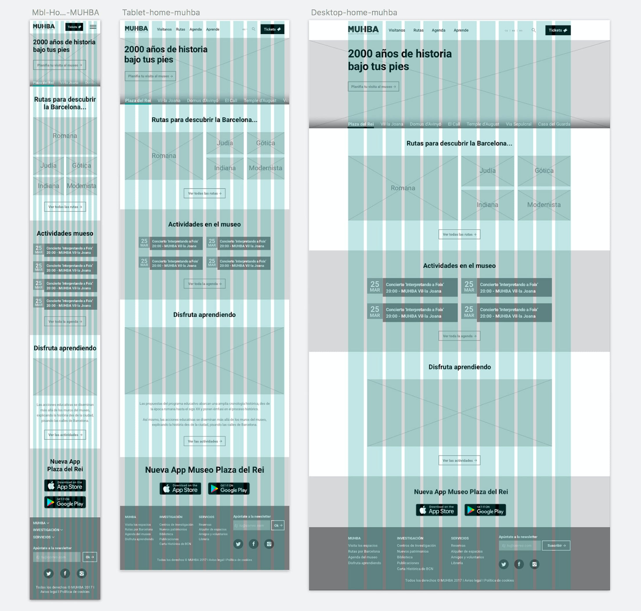 Wireframes for the web-landing page of MUHBA by Metakitrina