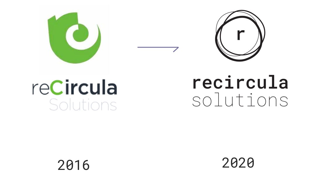 Recircula Solutions logo, before and after rebranding by Metakitrina