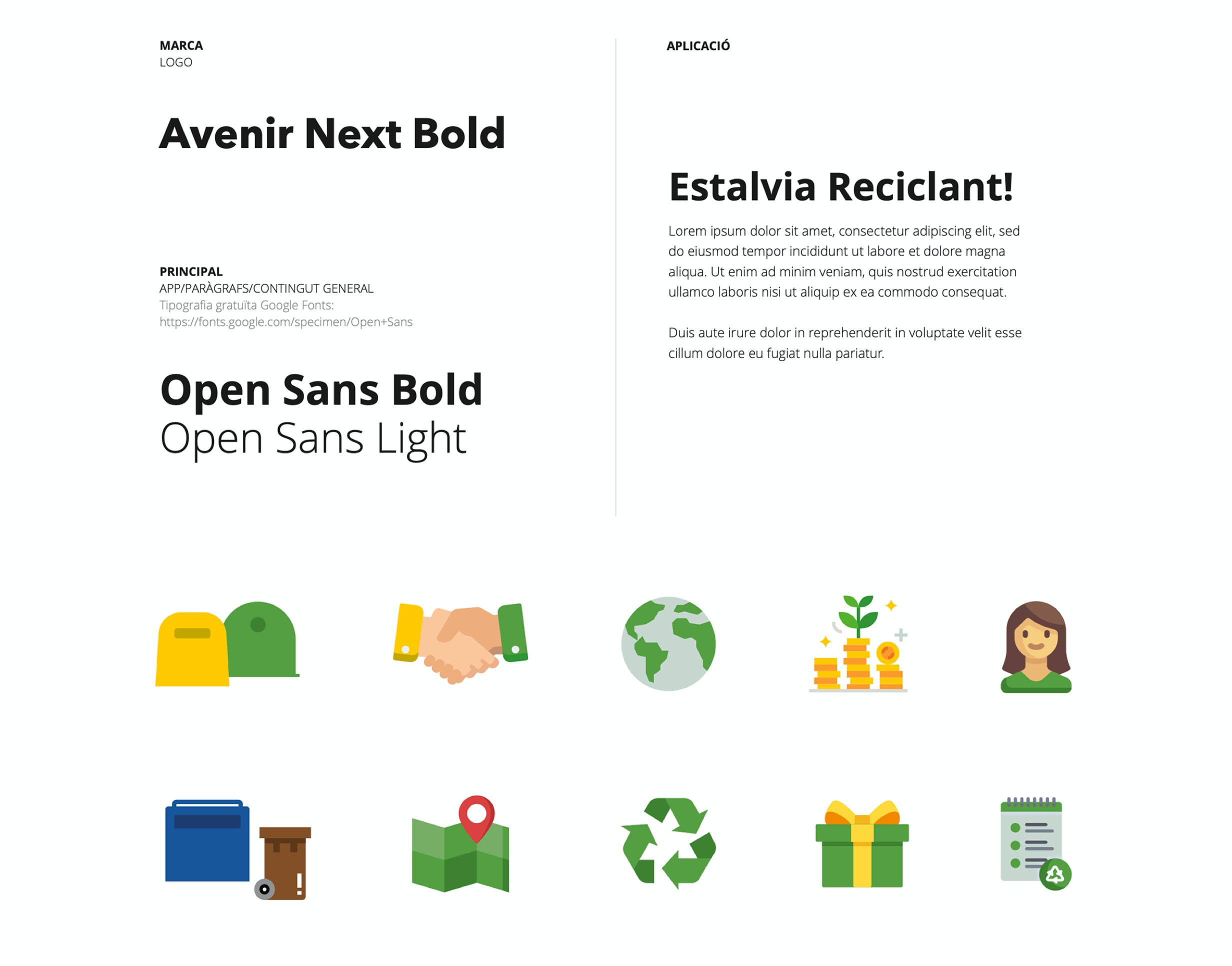 RecySmart Font and Icons for the brand book by Metakitrina
