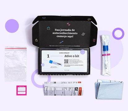 foto do kit de autocoleta de saliva para teste bochechinha aberto mostrando itens que vem em seu interior