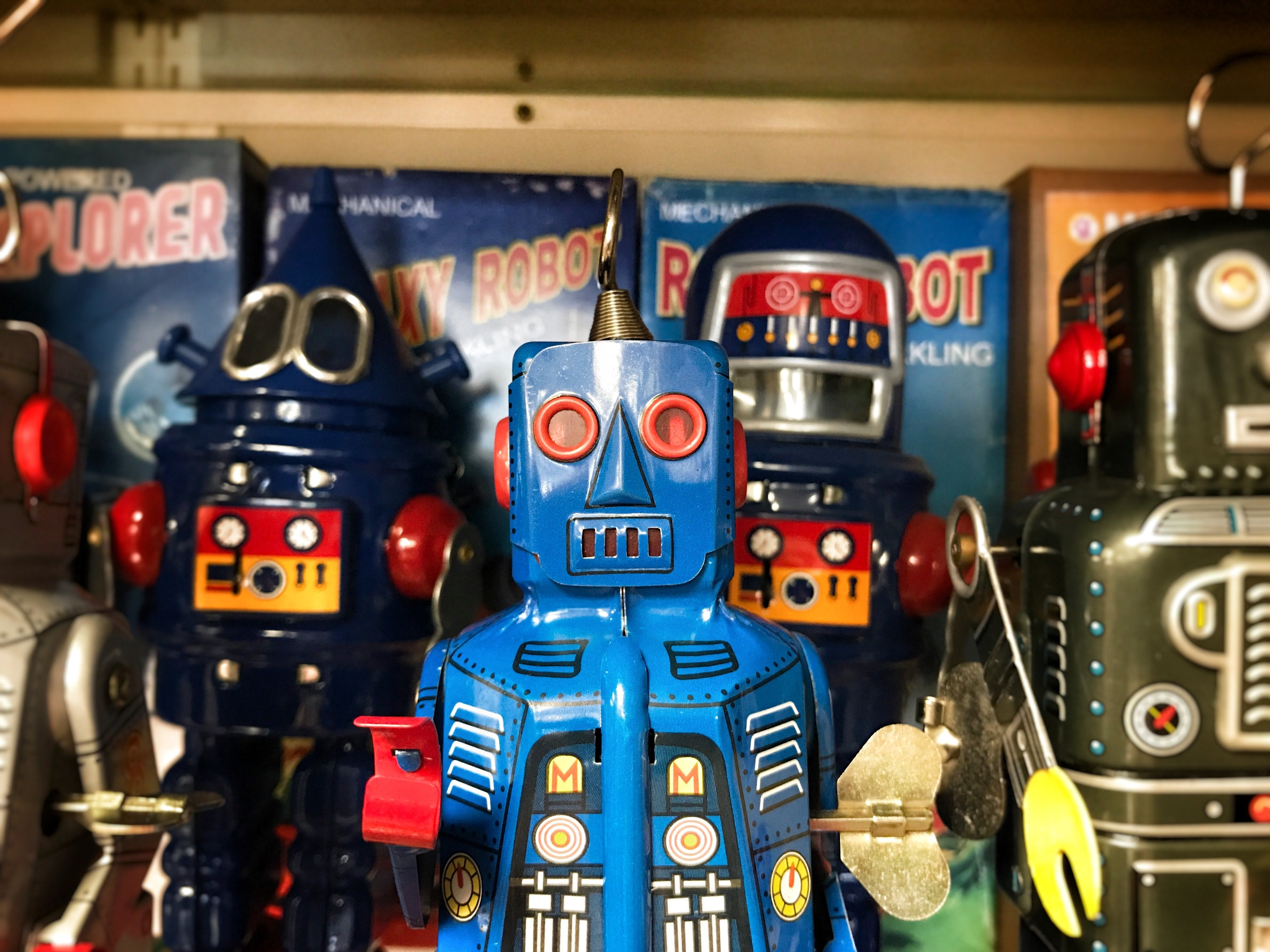 Toy robots on a toy store shelf