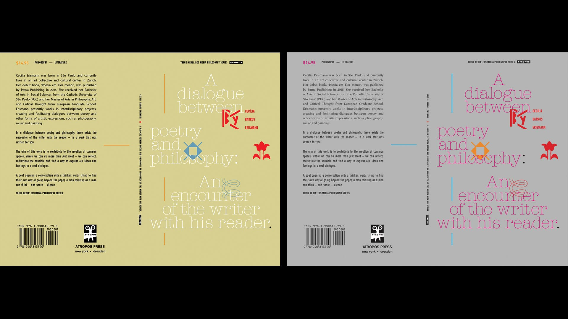"""A Dialog Between Poetry & Philosophy / Design for Book Cover / For Writer Cecilia Barros Erismann"