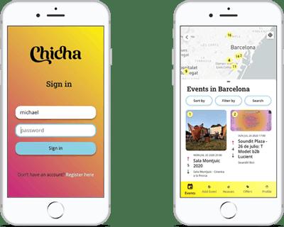 Chicha app screen shots