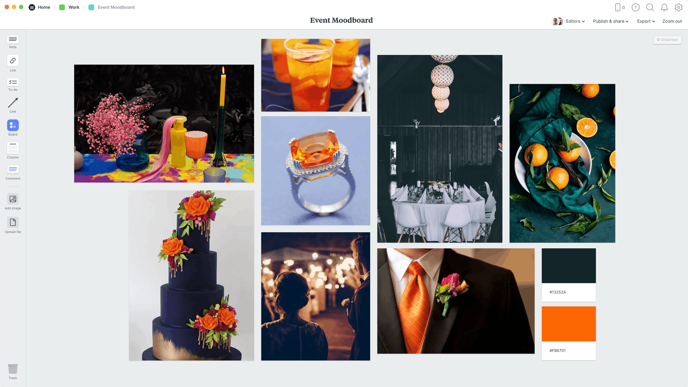 Event Moodboard Template, within the Milanote app