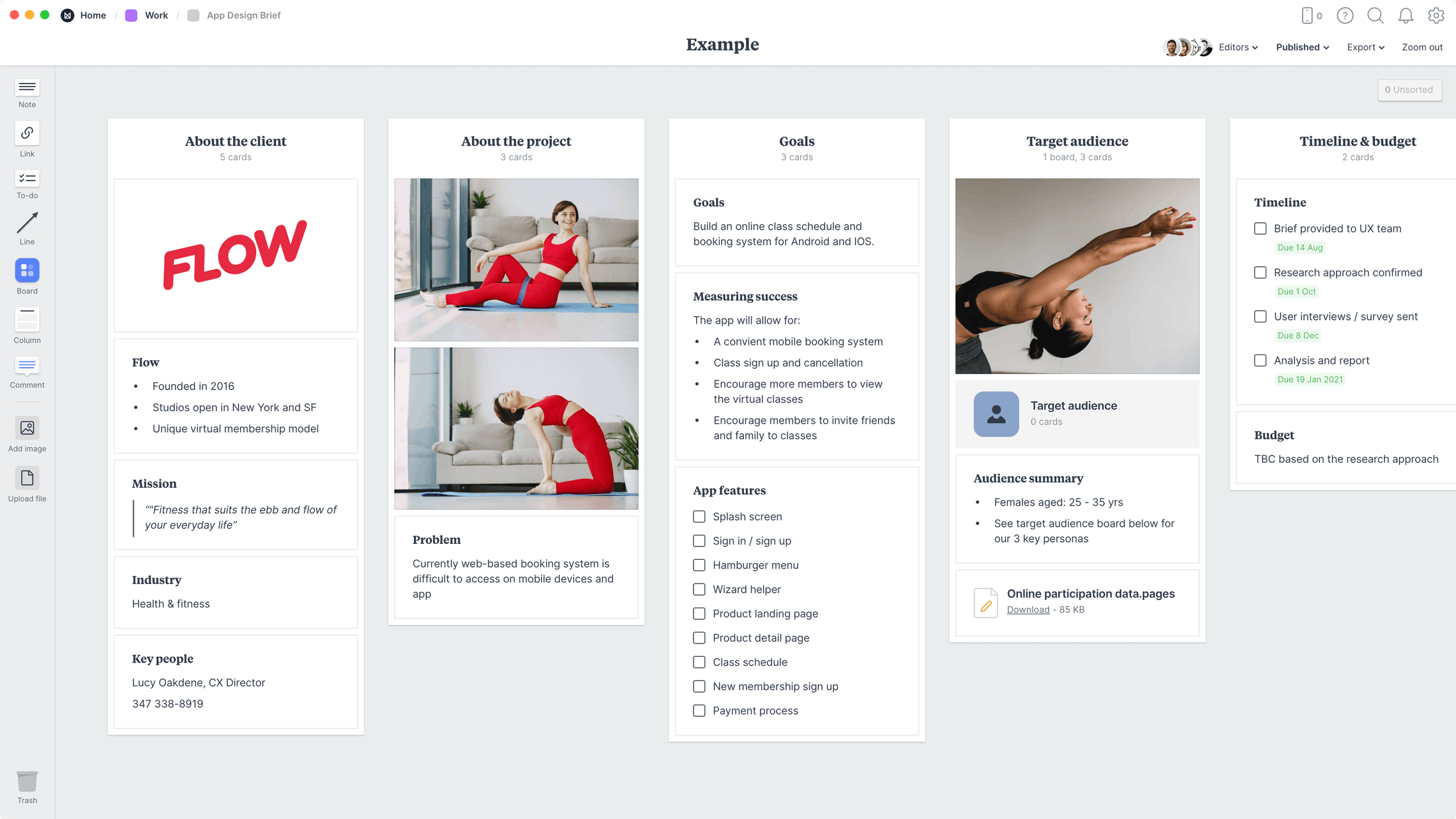 App Design Brief Template, within the Milanote app