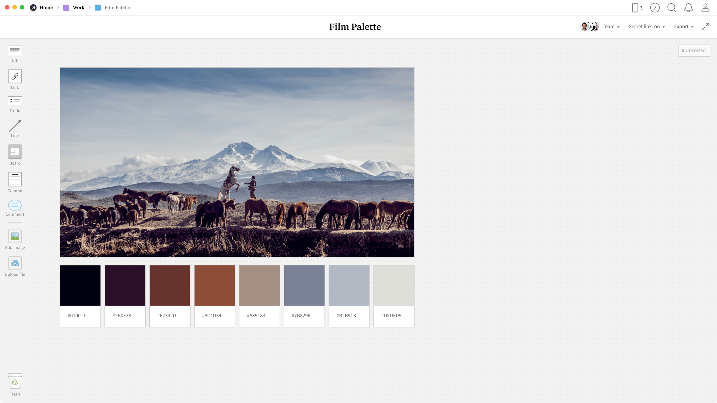 Film Palette Template, within the Milanote app