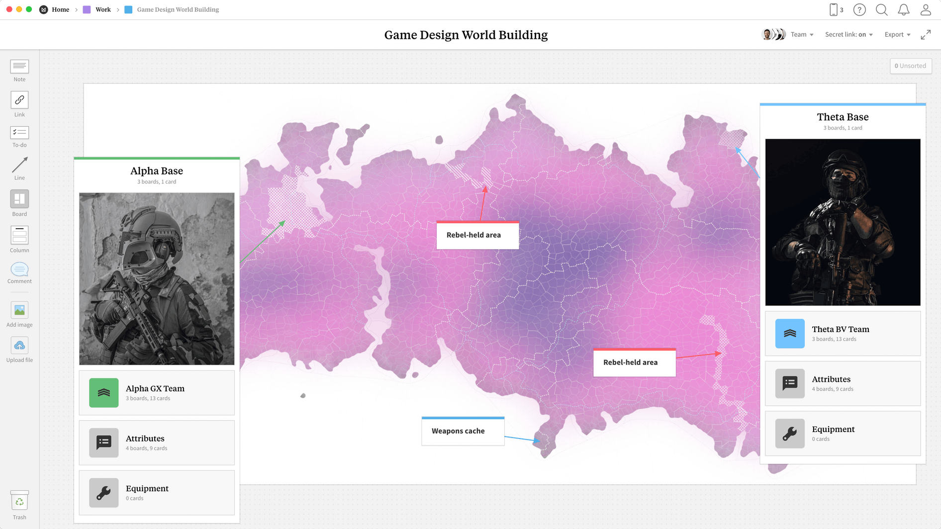 Game World Building  Template, within the Milanote app