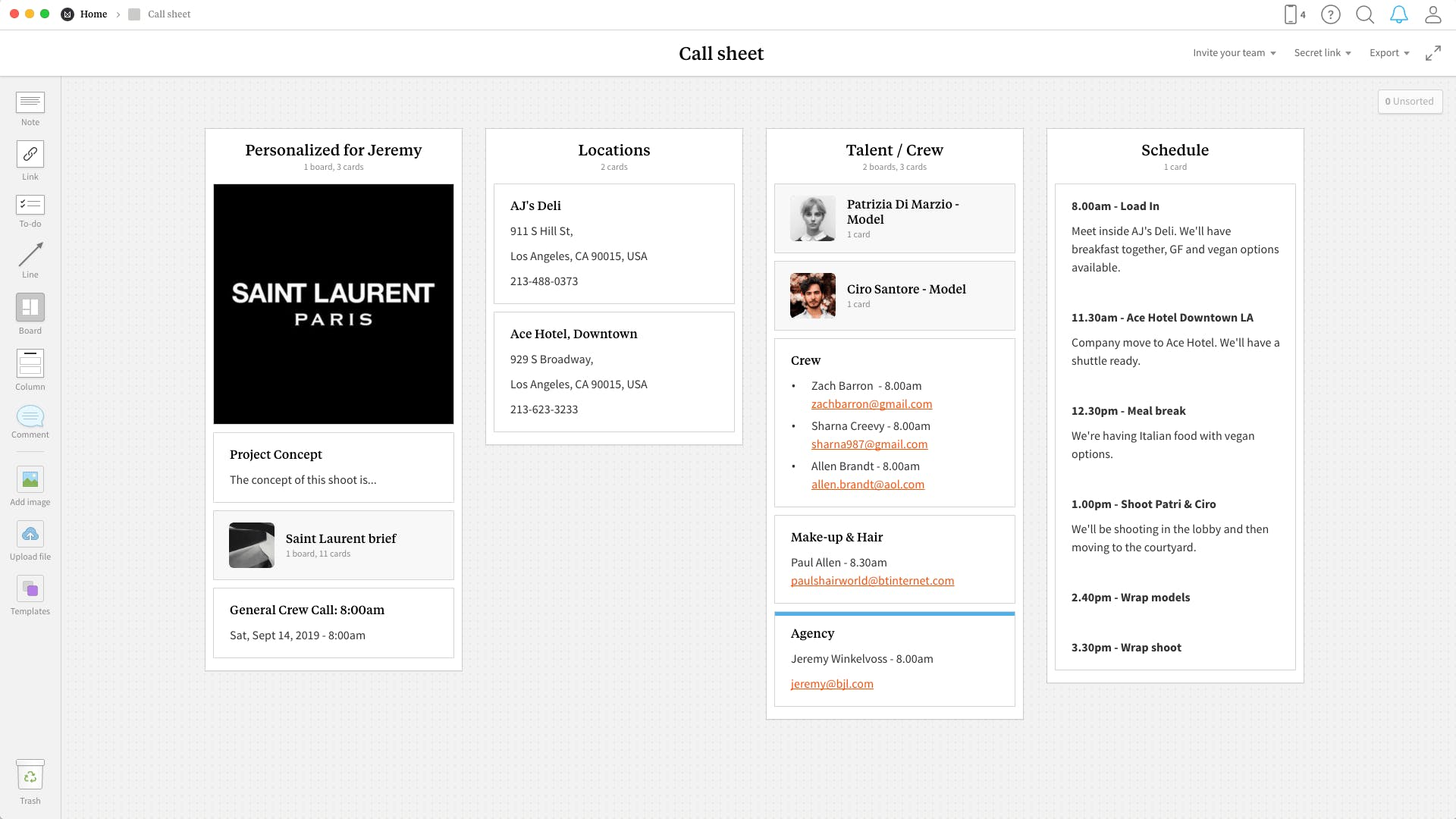 Completed Call Sheet template in Milanote app