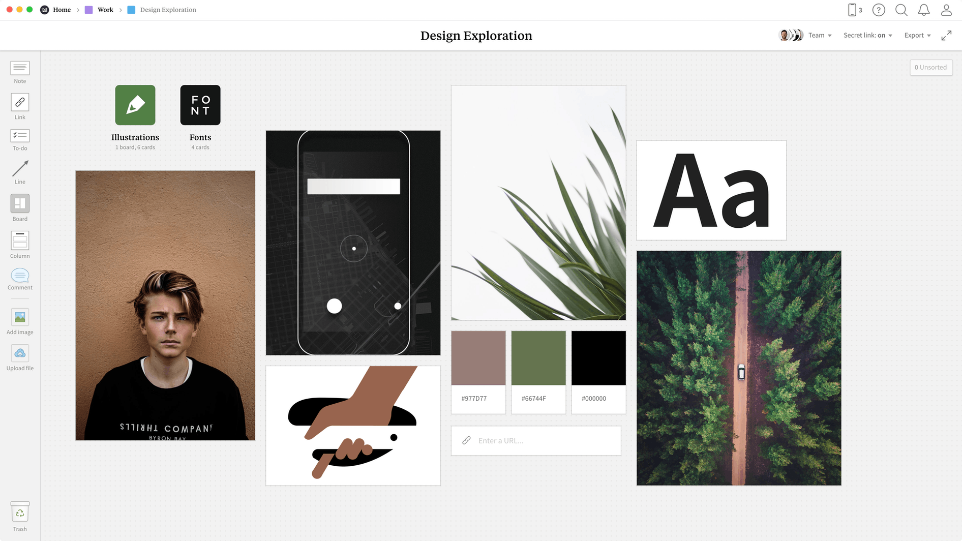 Design Exploration Template, within the Milanote app