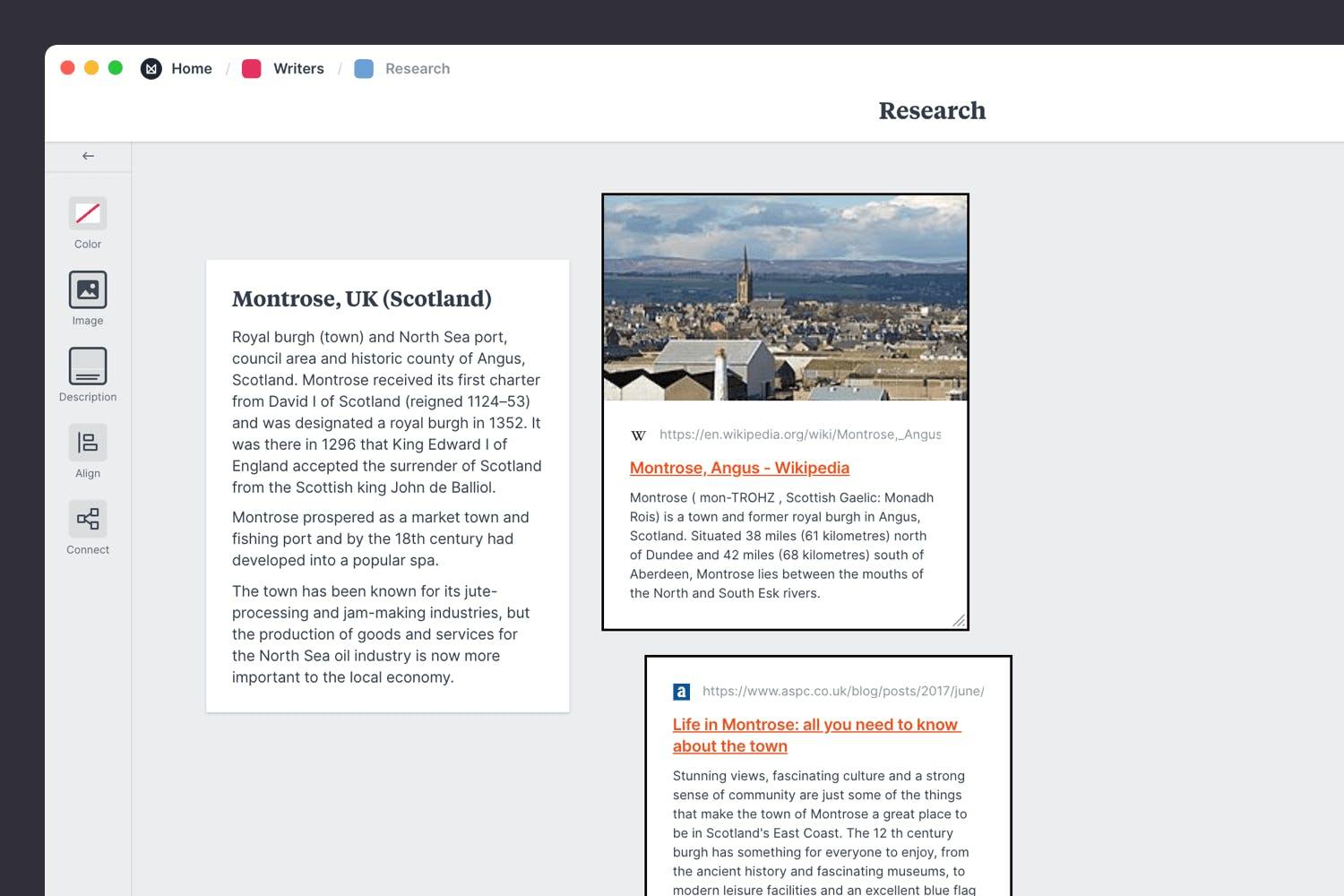 Collecting articles and news clippings for novel research
