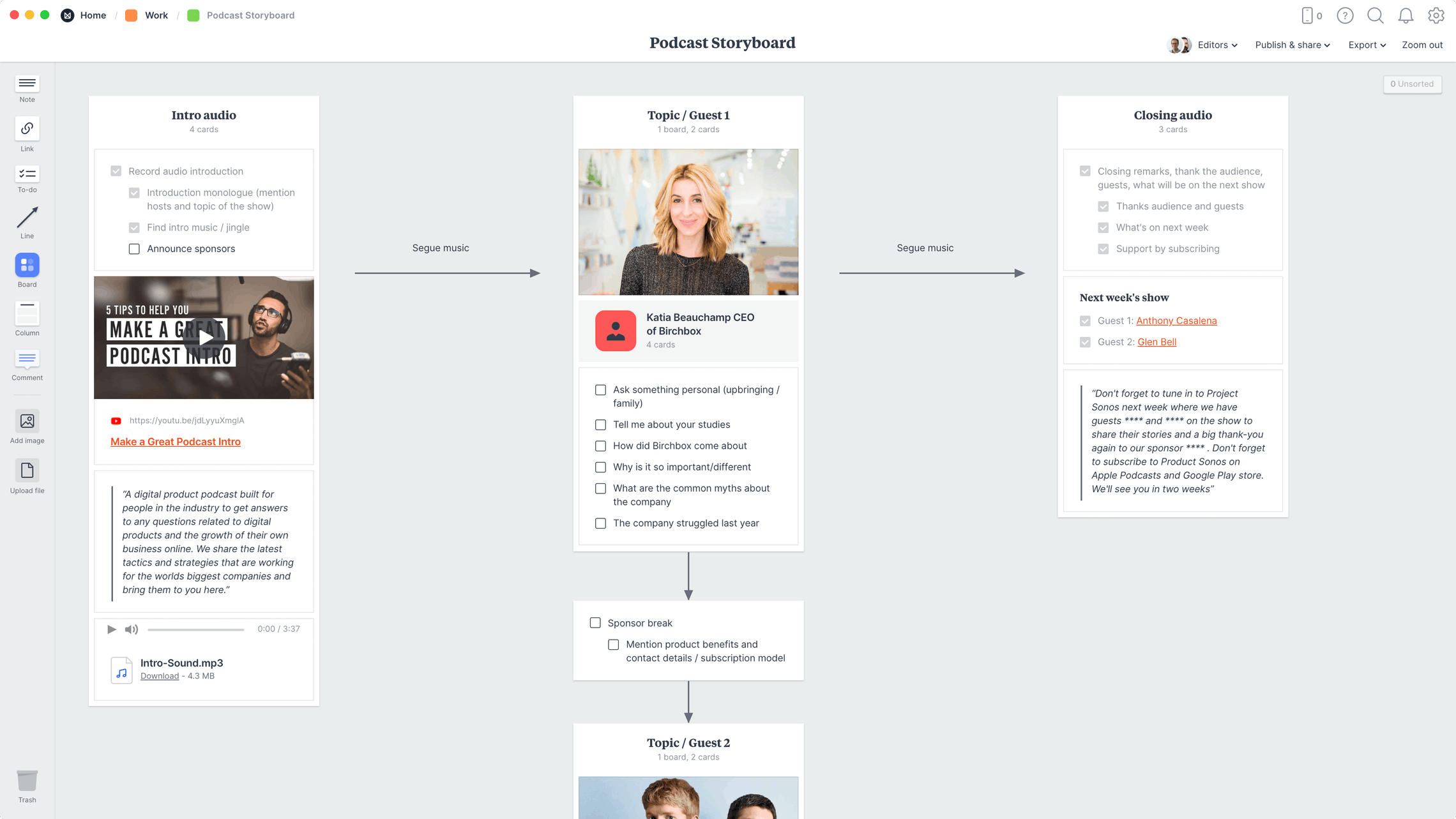 Podcast Storyboard Template, within the Milanote app