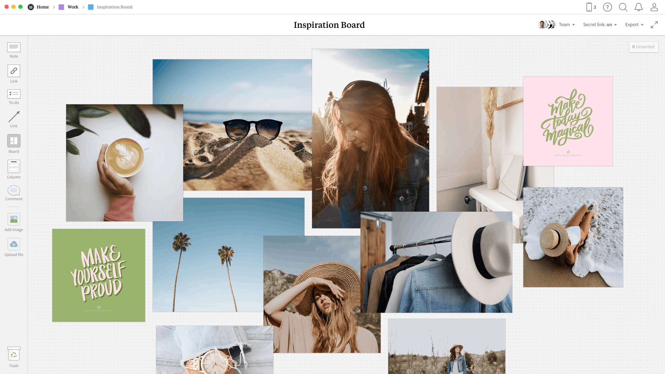 Inspiration Board Template, within the Milanote app