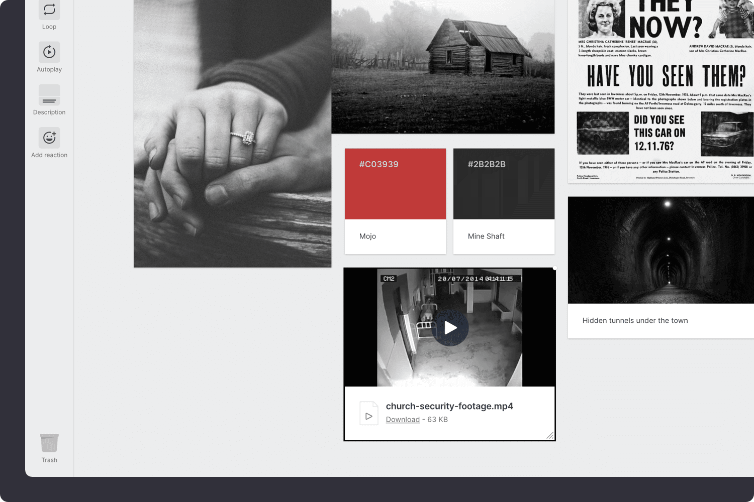 Adding video to a moodboard for a novel