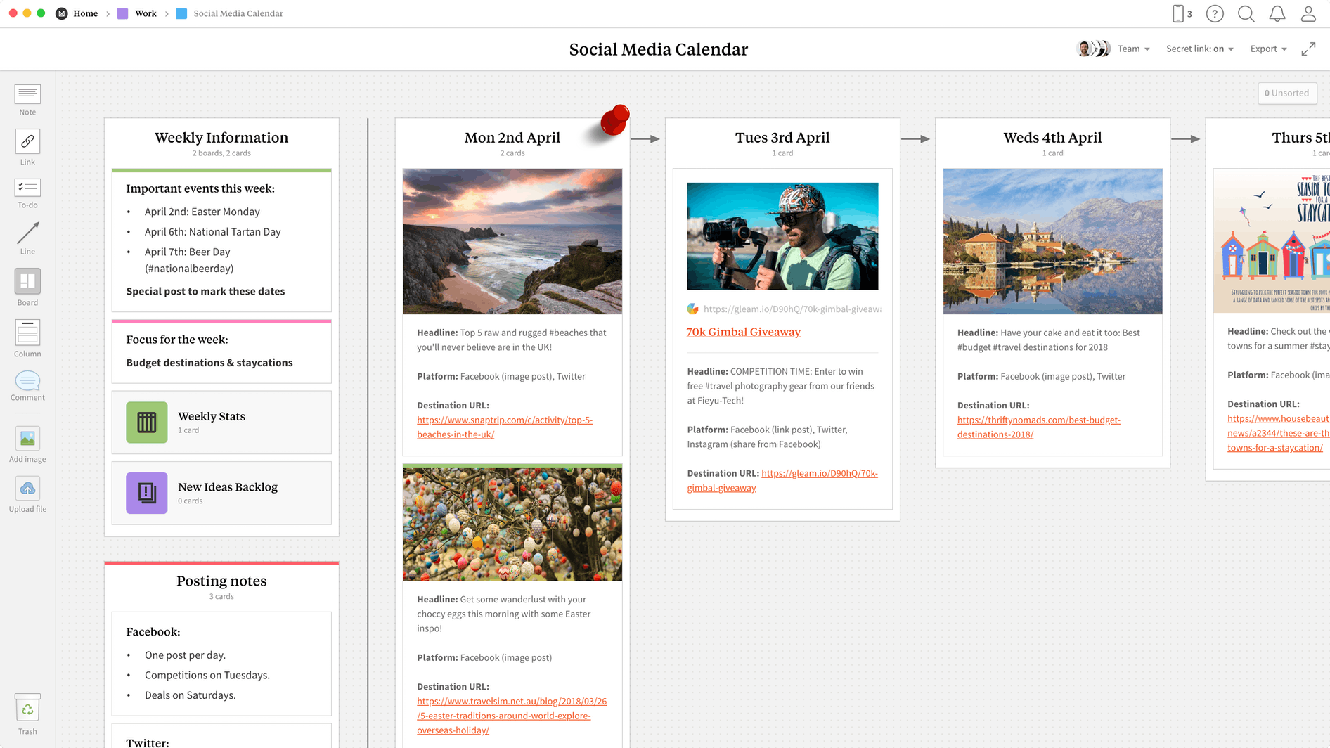 Social Media Calendar Template, within the Milanote app