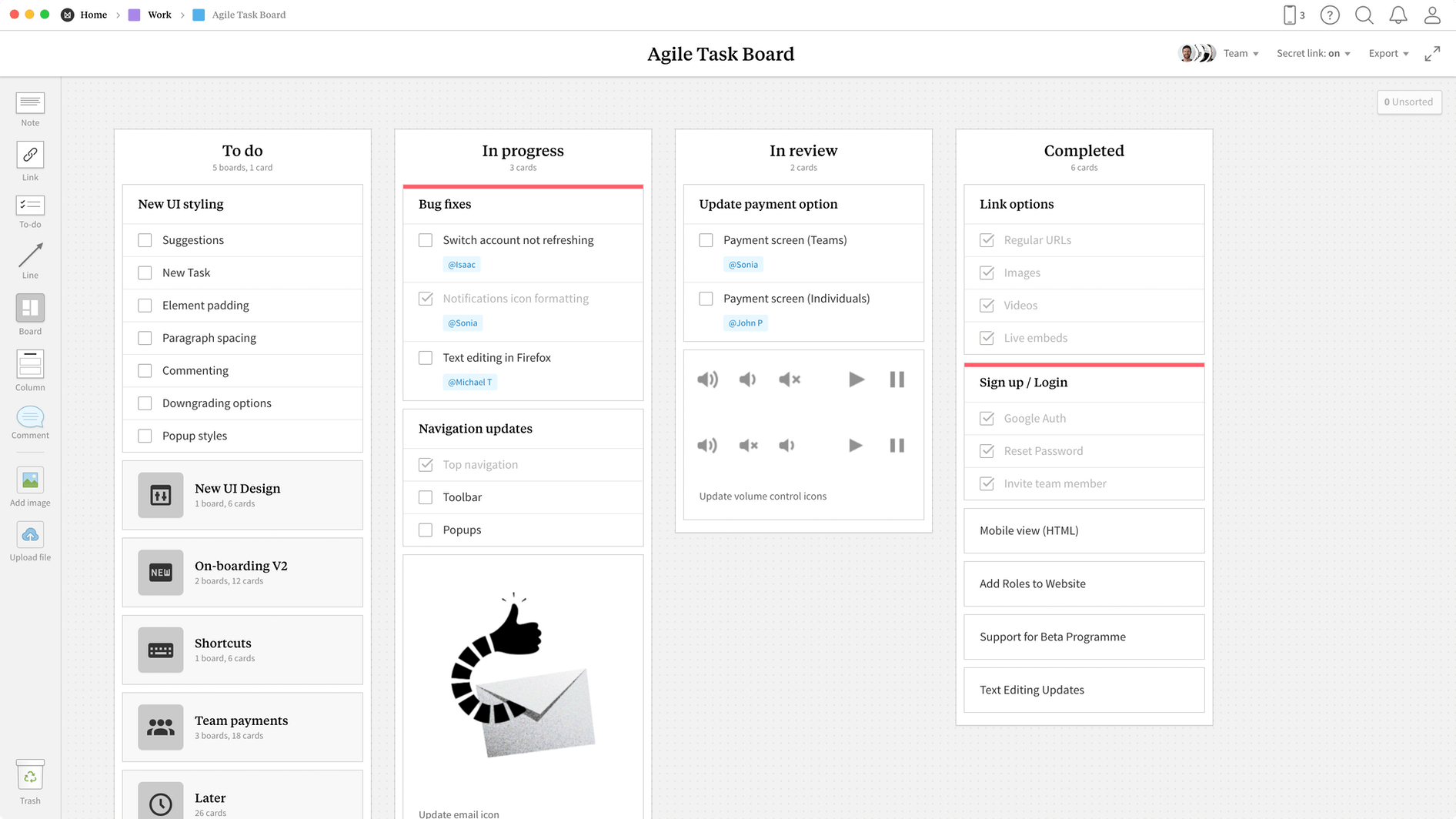 Agile Task Board Template, within the Milanote app