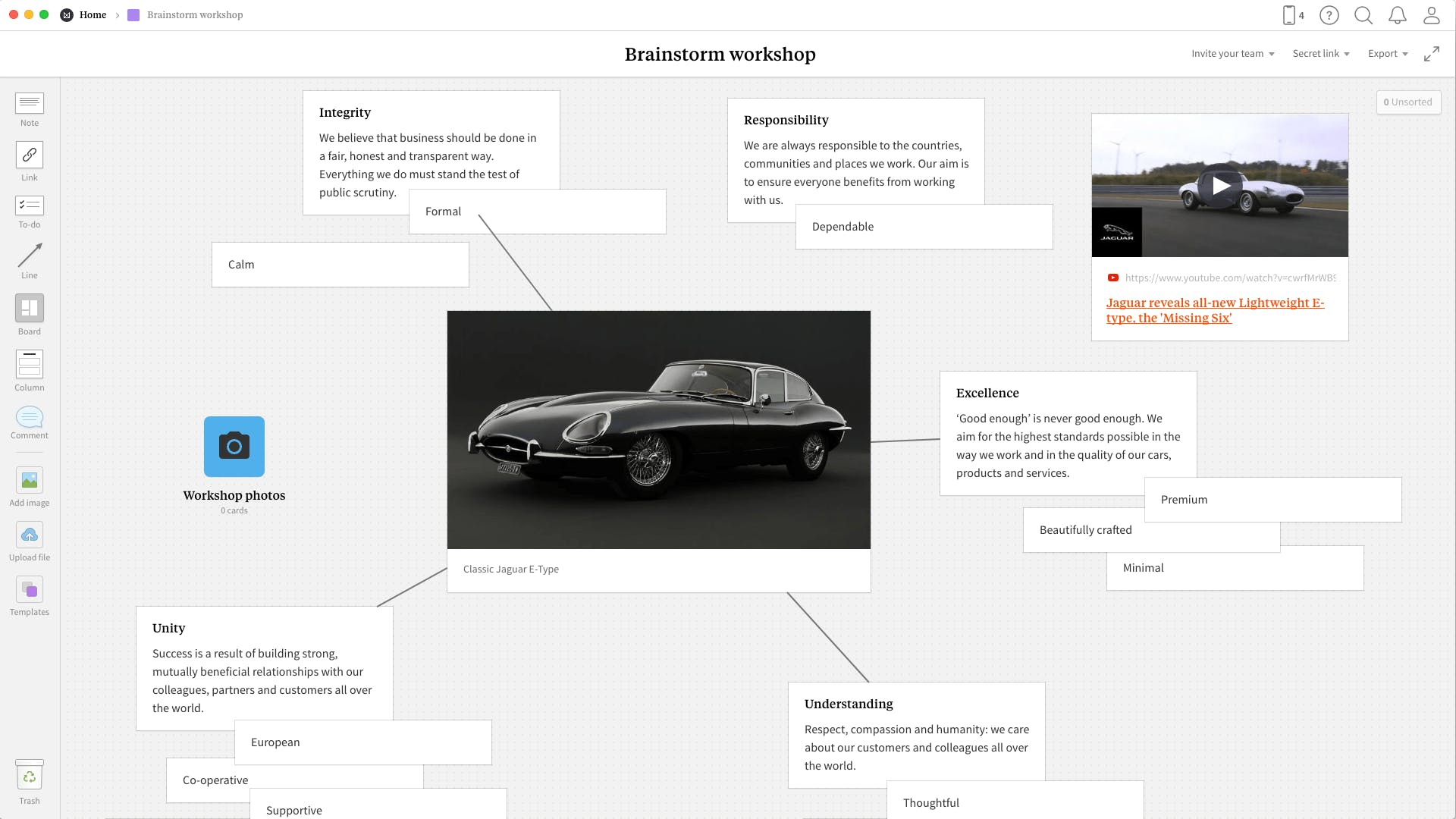 Completed Brainstorming template in Milanote app
