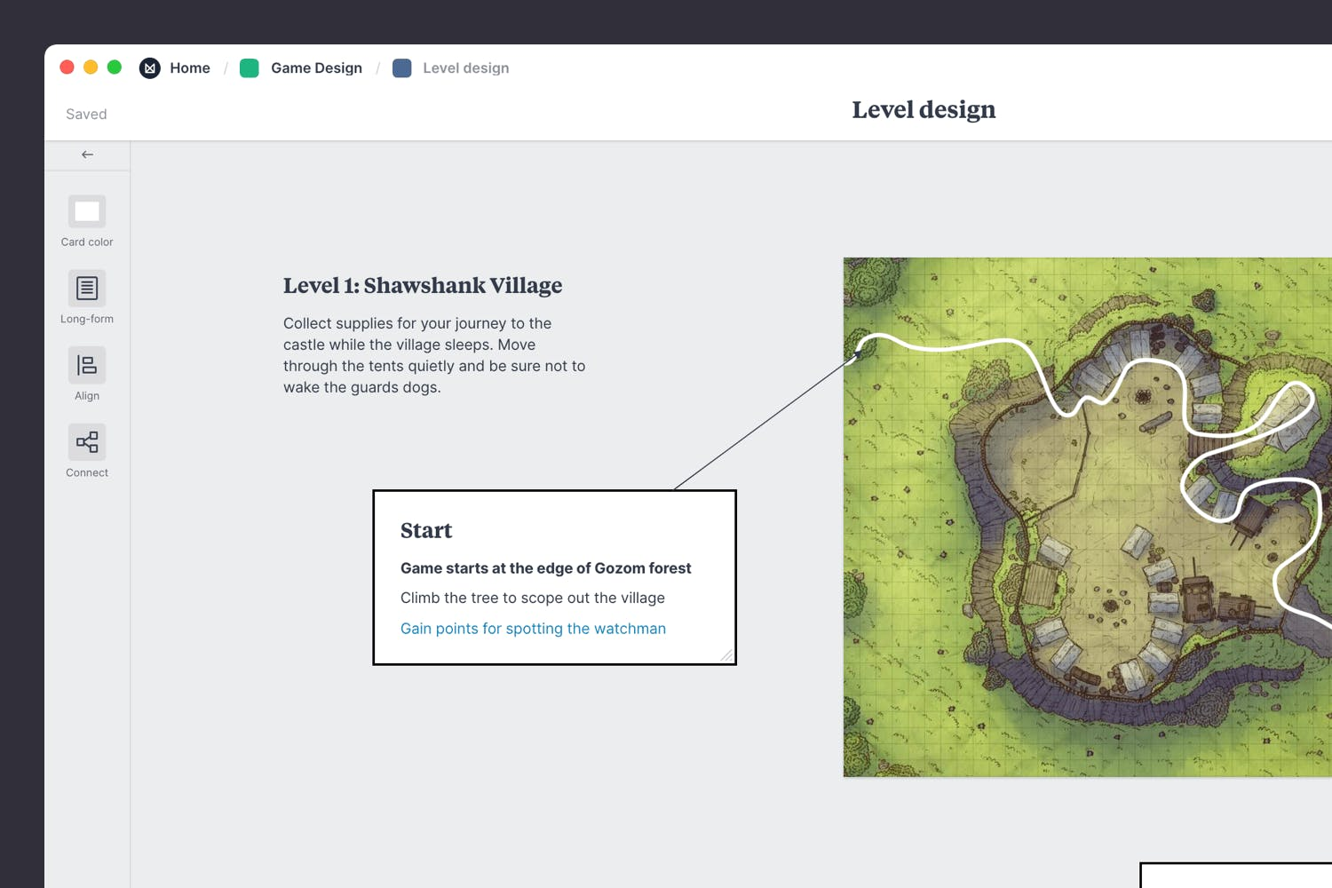 Defining the player journey in level design