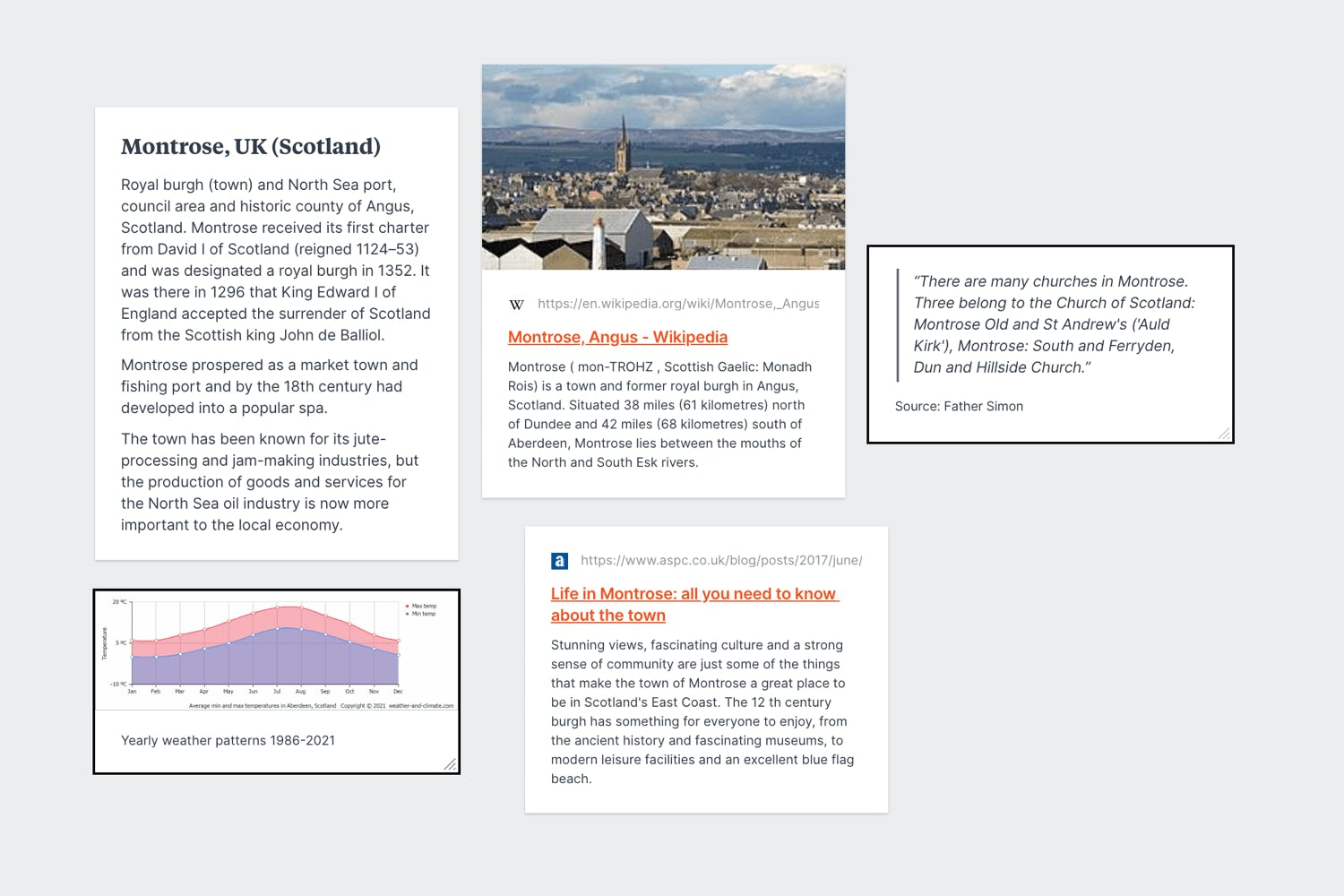 Collect data and quotes for novel research