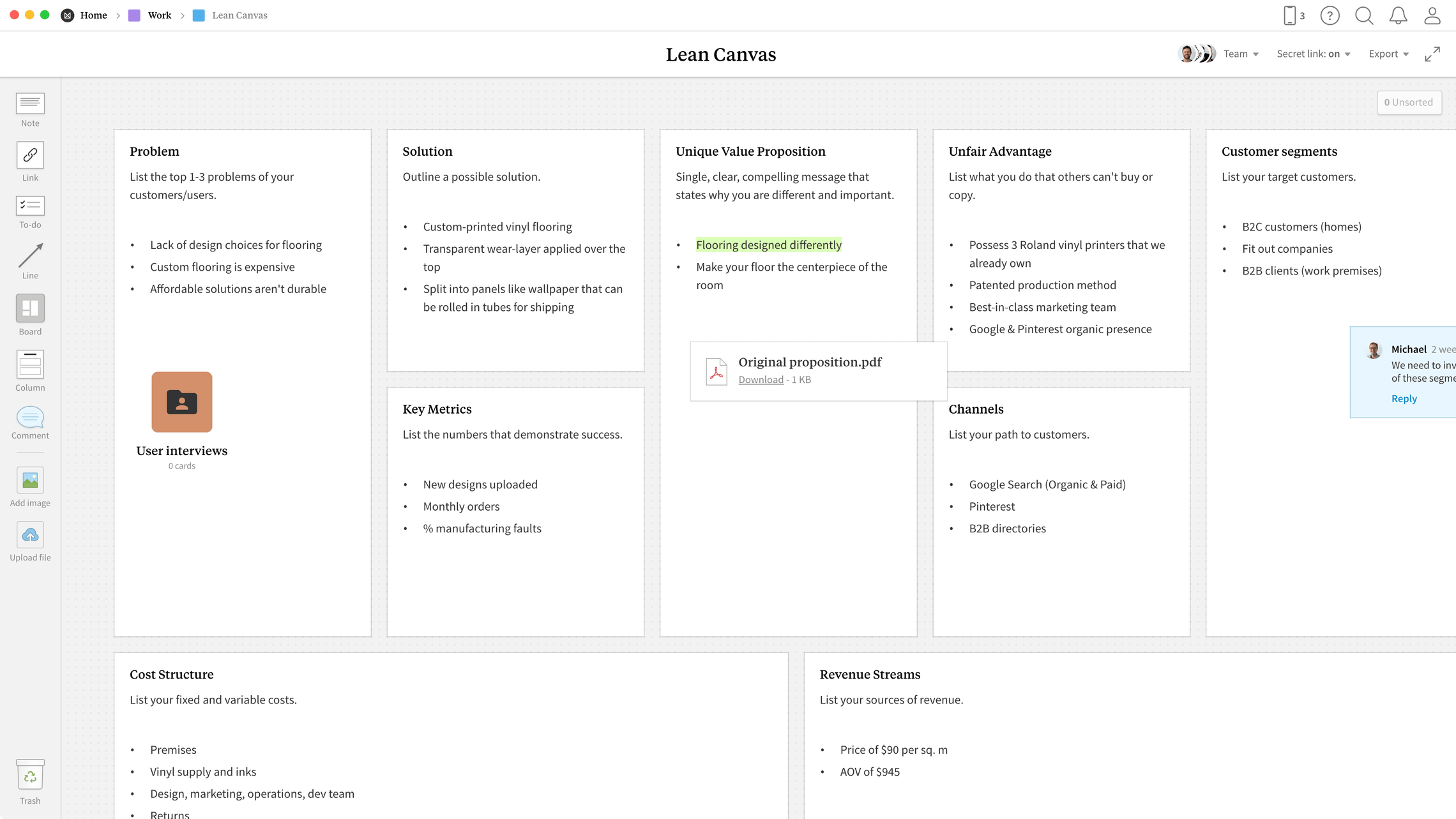 Lean Canvas Template, within the Milanote app
