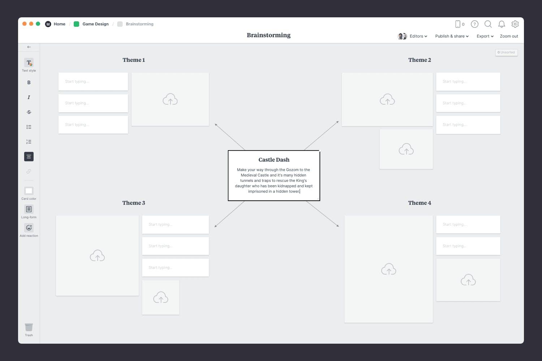 Game design brainstorming template concept