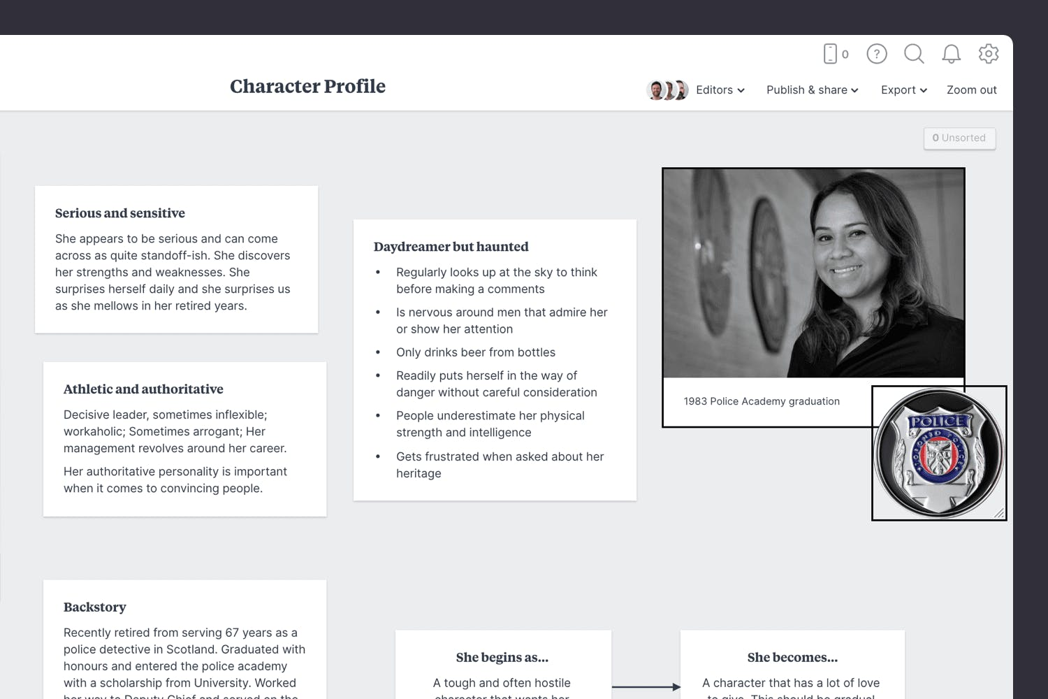 Visual references in a character profile